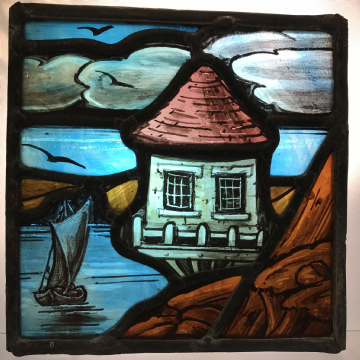 Beautiful Stained Glass Scenic Panel, Sailing Boat and House on Stilts. Arts and Crafts Movement